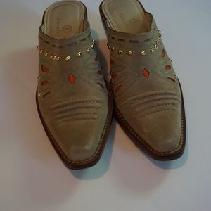 Cole Haan Western Tan Suede Mules, Size 6.5